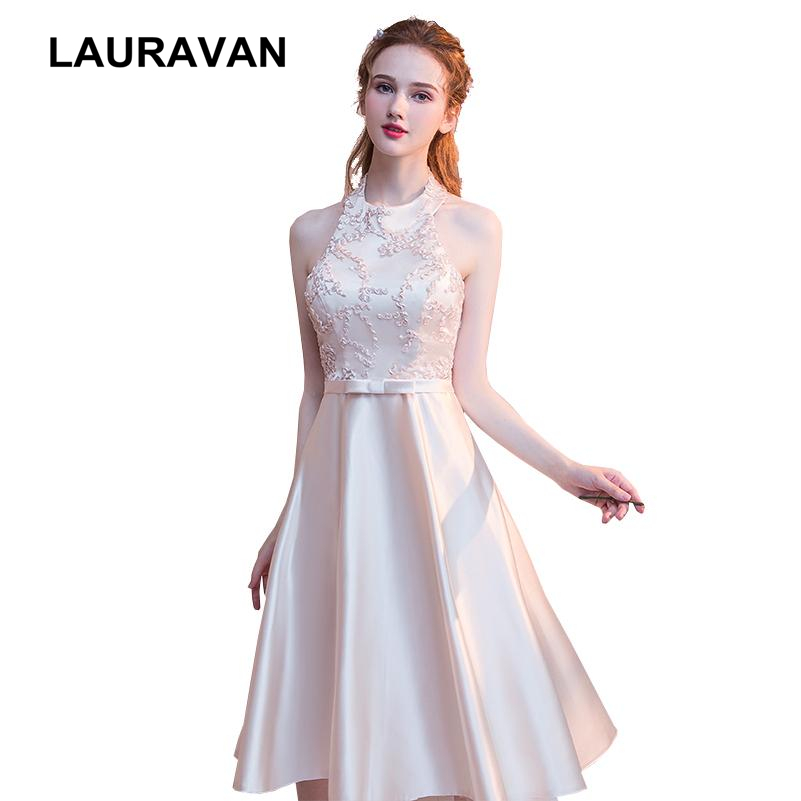 formal short champagne lace applique women   prom     dresses   satin pageant ball gown halter neck tea length   dress   gowns bandage 2019