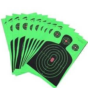 """Image 5 - 25 шт. стрельбы по мишени 12 """"x 18"""" силуэт Splatter Reactiveb бумага для мишени флуоресцентный зеленый для стрельбы из оружия или стрельбы из лука"""