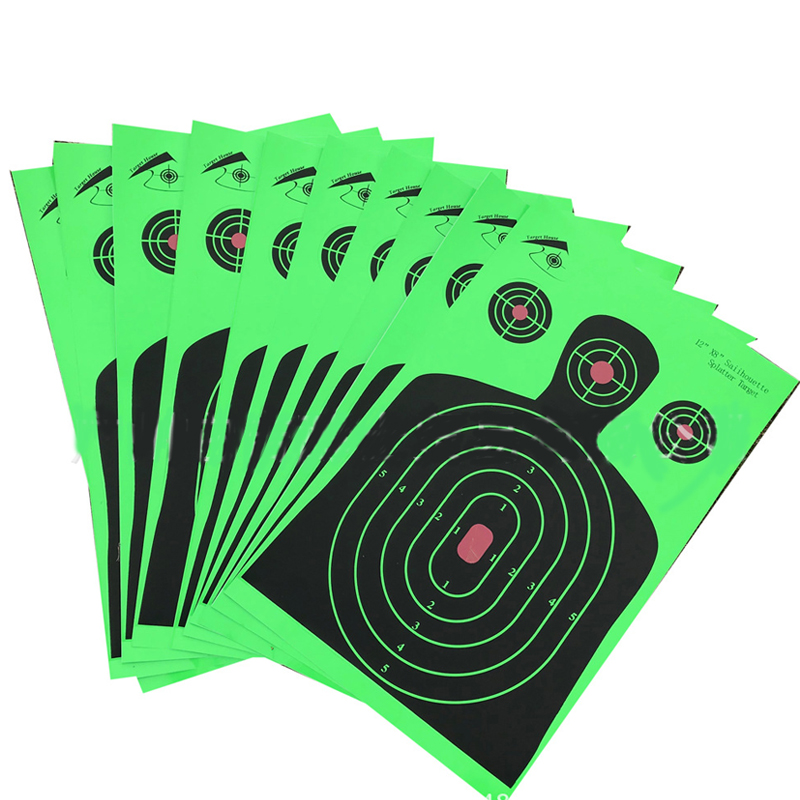 "Image 5 - 25 PCS Target Shooting 12""x18"" Silhouette Splatter Reactiveb Target Paper Targets Fluorescent Green For Gun or Archery Shooting-in Paintball Accessories from Sports & Entertainment"