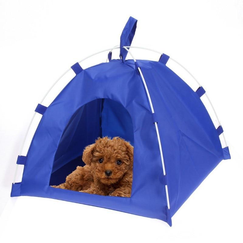 Waterproof Oxford Cloth Pet Tent Dog Cat Detachable Fiber Rod Folding Sleeping Beds Mat Puppy Kitten Outdoor Travel Supplies