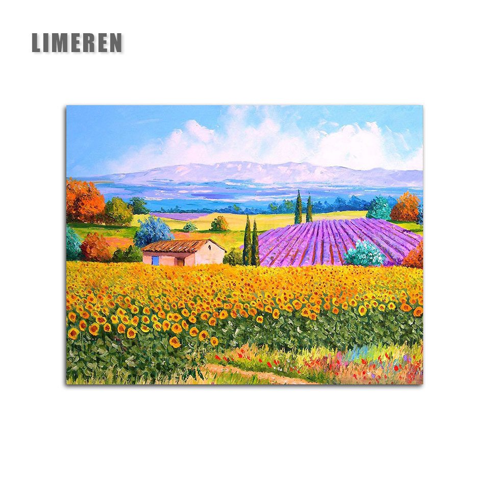 DIY Digital Oil Painting Kit Paint by Numbers on Canvas Decor-Lavender Field