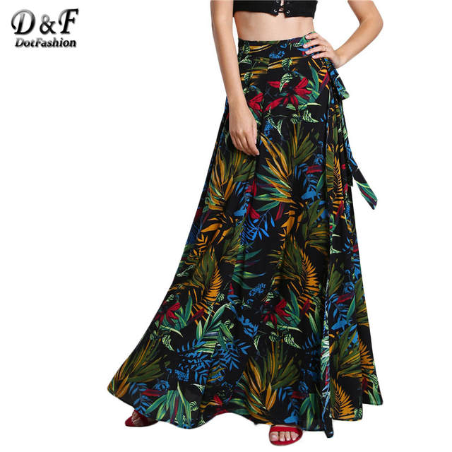 Dotfashion Ladies Tropical Print Self Tie Wrap Skirt Summer A Line Boho Maxi  Bottoms Women s Beach 265efc2ea2d5