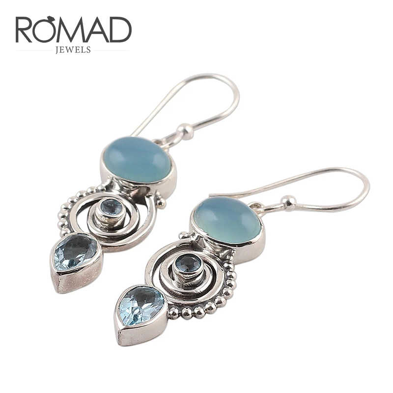 ROMAD Vintage Boho Blue Stone Water Drip Hanging Dangle Drop Hook Earrings Exquisite Ethnic Earrings for Women Jewelry R4