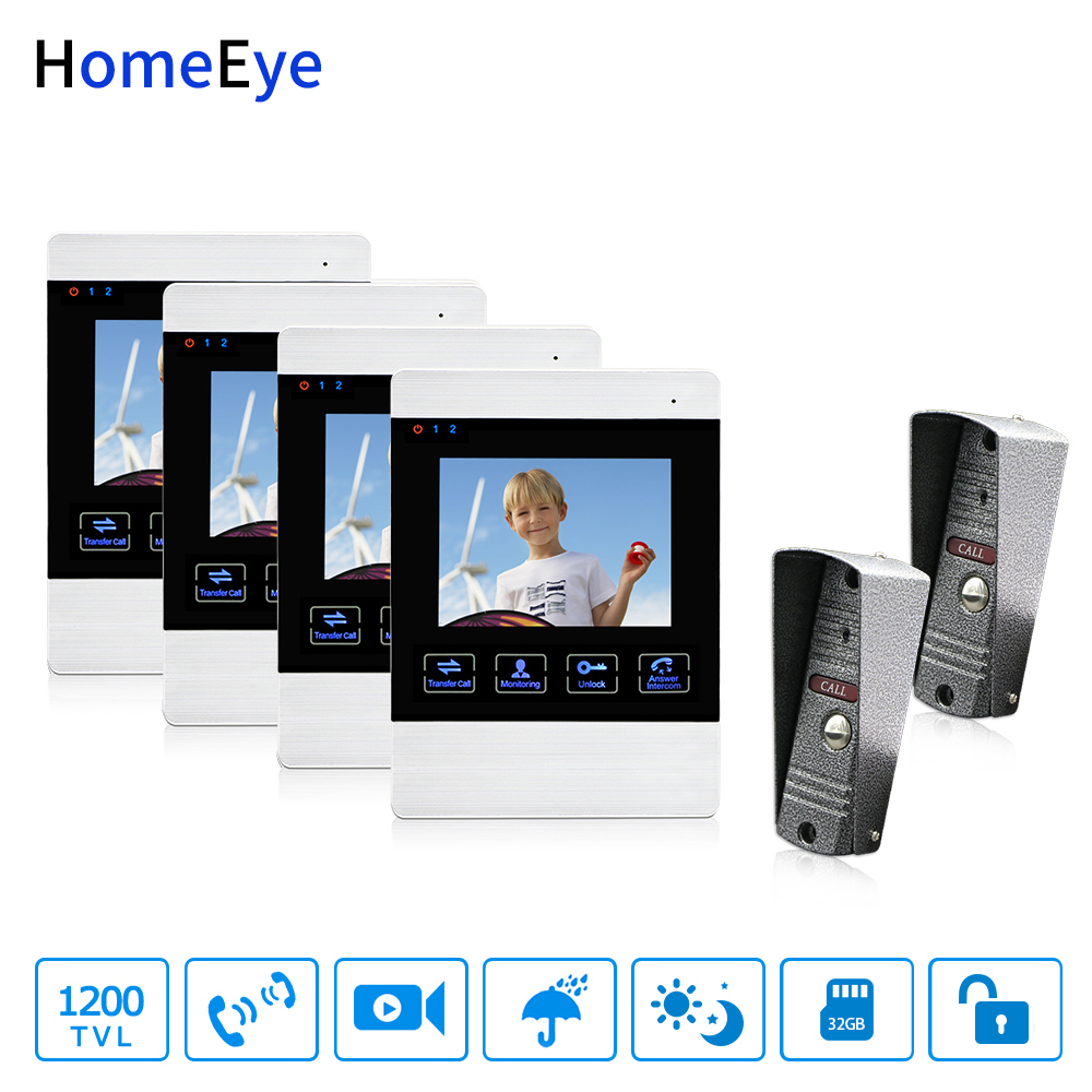 HomeEye 4-Wired 2-4 Access System Video Door Phone Video Intercom Touch Button Doorbell Camera 4'' Monitor Video Record OSD Menu