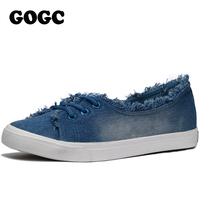 GOGC 2017 Women Casual Shoes Denim Round Toe Flat With Shoes Women Sneakers Fashion Canvas Lace