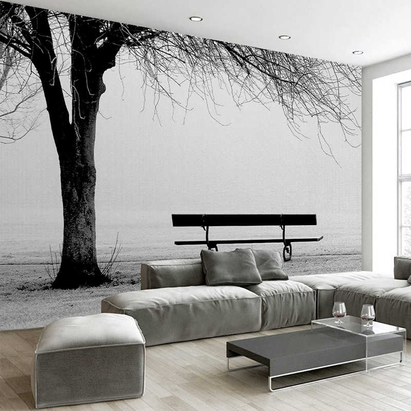 Custom 3d Photo Wallpaper Mural Black White Big Tree Bench Abstract Art Wall Painting Modern Living Room Sofa Tv Backdrop Decor