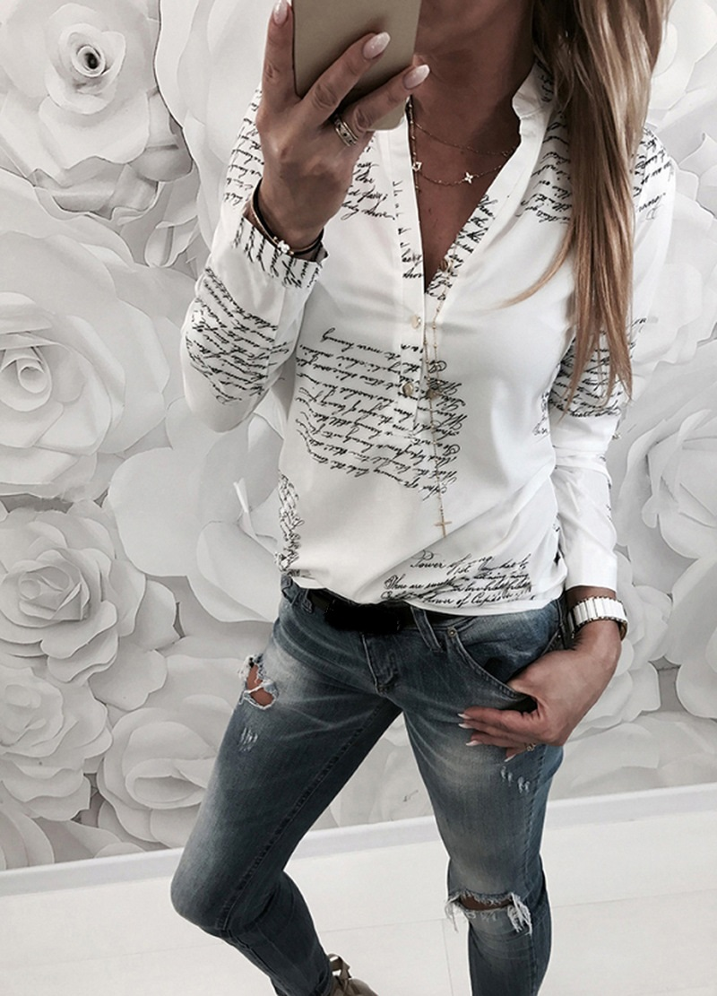 Autumn Winter Fashion 2019 White Tops Letter Print Blouse Women V Neck Buttons Long Sleeve Casual Blouse Shirt Femme Blouses in Blouses amp Shirts from Women 39 s Clothing