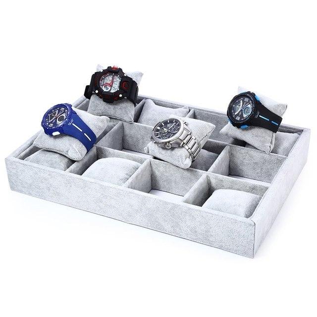 2017 A Estrenar Caja de Reloj 12 Rejillas Acuden Material de Reloj caja de Caja de Reloj de Exhibición de La Joyería Caja Con Almohadillas Removibles Interiores titular