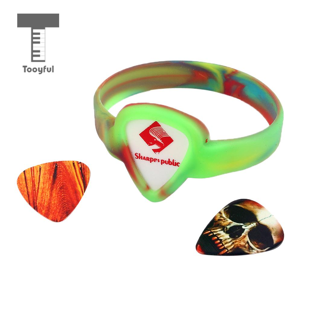 Tooyful Colorful Pick-Holding Wristband Bracelet with Guitar Plectrums Picks Set for Guitar Bass Ukulele Banjo Parts