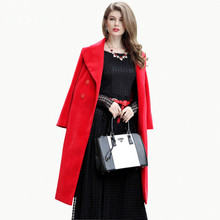2016 High Street Winter Red Blend Women Long Coat Double Breasted Turn-Down Collar Ladies Outwear European Style Trench