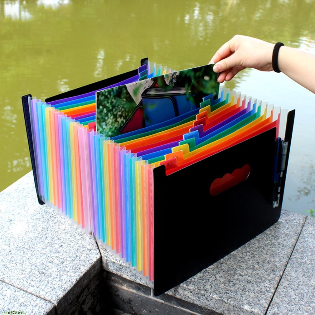 Lucu Organ PVC Folder File Tas Dokumen Ditahan Tas Penyimpanan Klip Folder File Penyimpanan Kertas Kantor Sekolah
