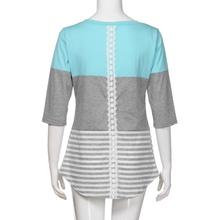 Feitong Womens T Shirts Tops Summer Casual Loose Striped Patchwork Lace Three Quarter Sleeve Tee Shirts Femme Camisetas Feminina