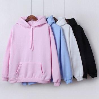 Solid Color Hooded Tops Women's Sweatshirt