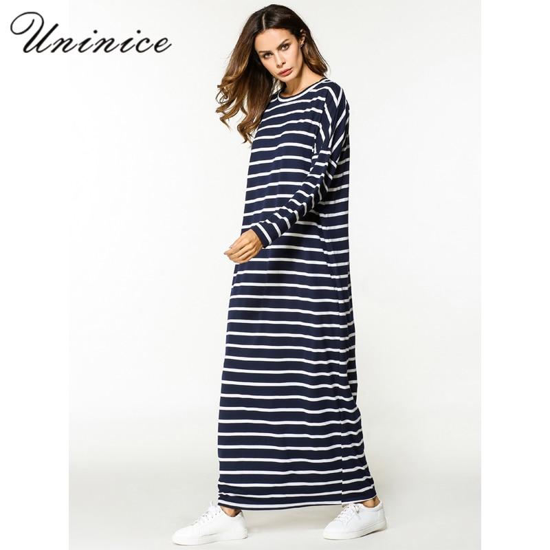 b275d56bbacb8 Nouveau musulman femmes Maxi Robe Abaya rayure longue Robe chemise Kimono lâche  Style Ramadan moyen orient marocain islamique prière vêtements dans ...