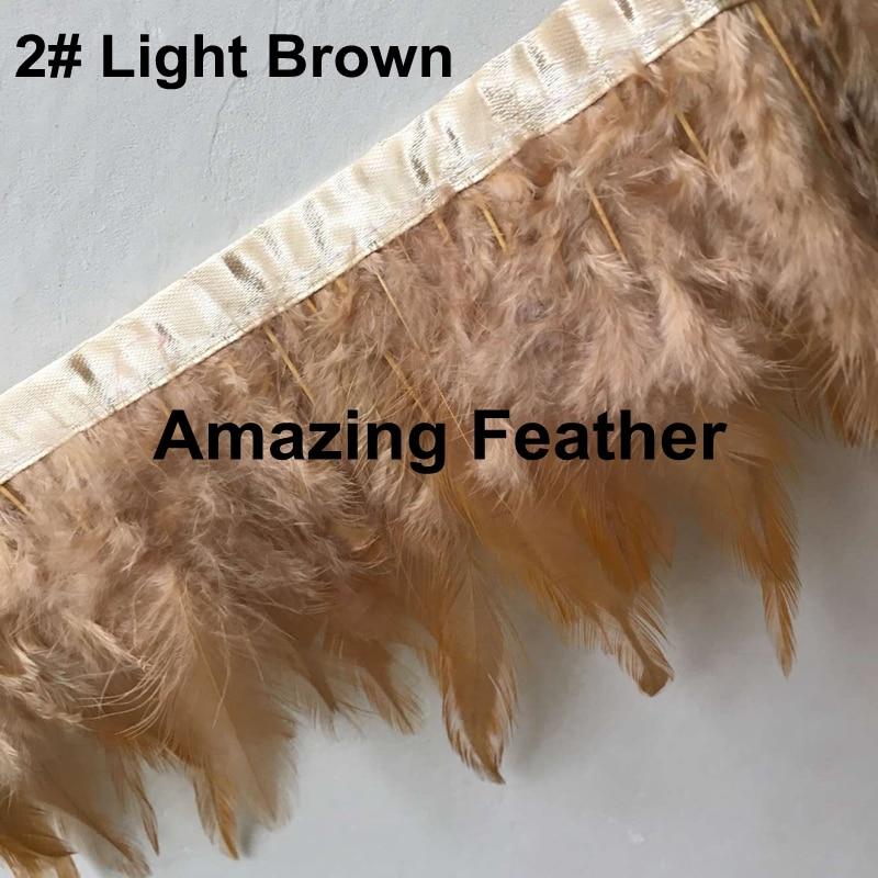 Лидер продаж 10 метров петух Hackle Перо отделкой светло-коричневый 4 цвета-6 дюймов шлейфа куриных Перо S Перо ленты