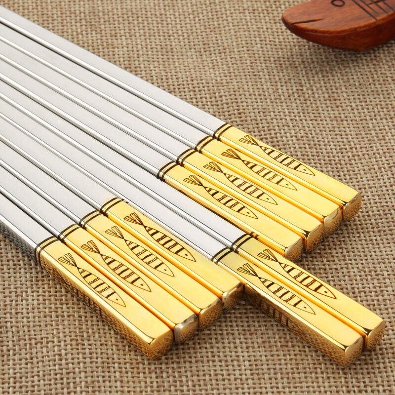 5 Pairs Titanium Plating Gold Chinese Stainless Steel Chopsticks Reusable Laser Engraving Patterns Chop Sticks With