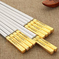 5 Pairs Titanium Plating Gold Chinese Stainless Steel Chopsticks Reusable Laser Engraving Patterns Chop Sticks With Gift Box