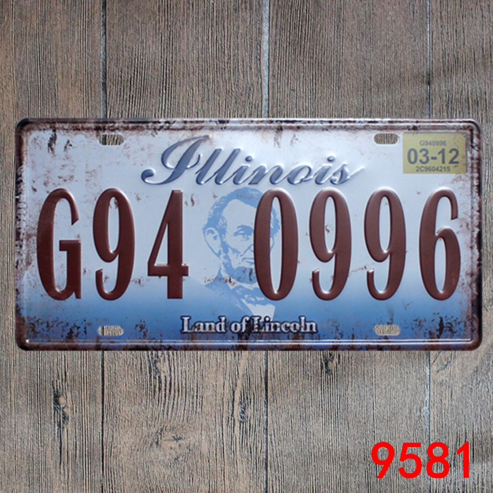 Car number  G49-0996 land of Lincoln  License Plates plate Vintage Metal tin sign Wall art craft painting 15x30cm