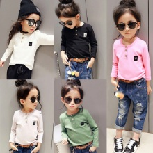 Winter Necessary Girls Long Sleeve Thicken Shirt Boys Basic Fleece Three Buttons Baby T-shirt Smiling Face Children Shirts,2-7Y