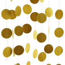 METABLE 1SET Glitter Party Decorations Garland,Gold White Pink Circle Paper Dots Hanging for decor 26 Feet Long (gold)