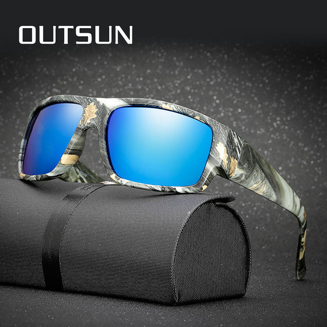 a2b6b48fe8e OUTSUN Polarized Sunglasses Men Sport Fishing Driving Sun glasses Camo  Style Brand Designer Camouflage Frame De