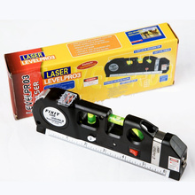 New  Practical Laser Level Horizon Vertical Measure Tape,wire,infrared Cross Line Tape Measure, 2.5 m aluminum seat