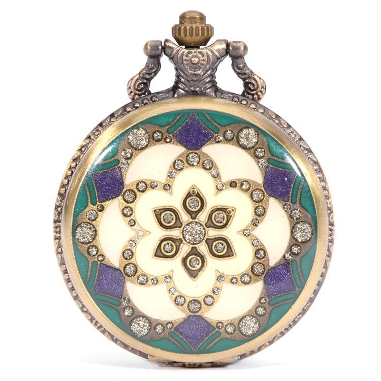Orologi da tasca antichi del fiore del sole FOB di cristallo guarda il regalo delle donne degli uomini con la catena che spedice liberamente Regalo di Natale di alta qualità