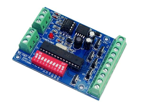 10 kusů doprava zdarma 6 kanálový DMX512 RGB řadič 2 skupiny RGB 6CH DMX512 dekodér DC5-24V vstup na každý kanál max. 3A