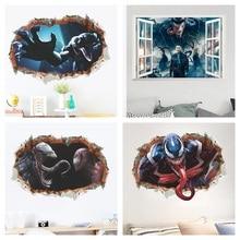 Venom 3d Window Broken Hole Wall Stickers Home Decoration Diy Film Poster Deadly Guardian Mural Art Pvc Decals