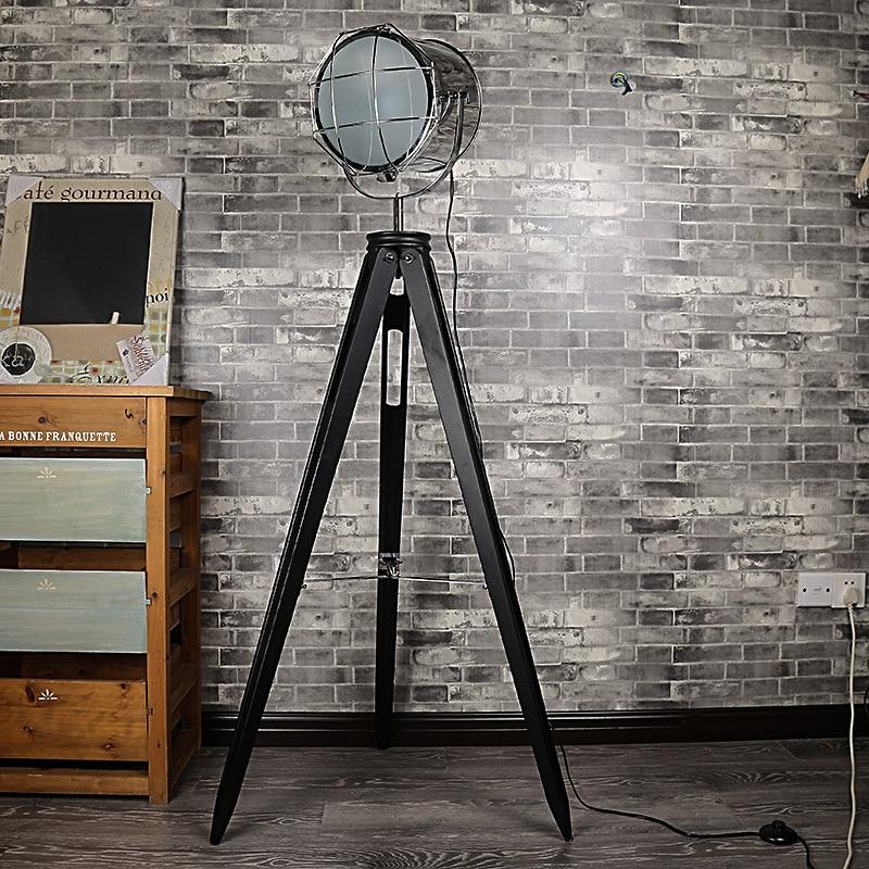 Hot Vintage Retro Loft Industrial Wood Aluminum Led E27 Tripod Bracket Floor Lamp For Living Room Bedroom Bar Deco H 152cm 1048