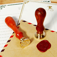 DIY Wood Handle Wax Seal Stamp Wedding Custom Greetings Envelope Seal Scrapbooking Alphabet Gift Seal Stick