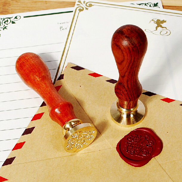 DIY Wood Handle Wax Seal Stamp Wedding Custom/Greetings Envelope Seal Scrapbooking Alphabet Gift Seal Stick SH693 creative wax envelope set literary romantic gift confession artifact the new year wedding gift