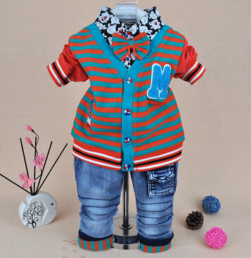 clearance new 2015 baby boy striped clothing set 2pcs boys jeans suit set kids vestidos baby clothing kids clothes with tie