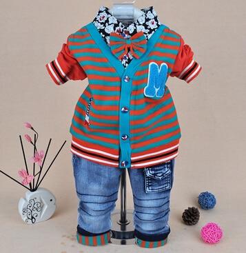 clearance new 2015 baby boy striped clothing set 2pcs boys