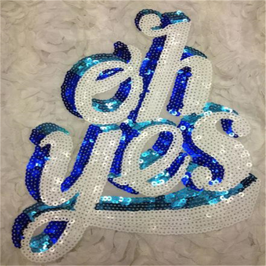 Embroidered sequins white biker patches oh yes iron on