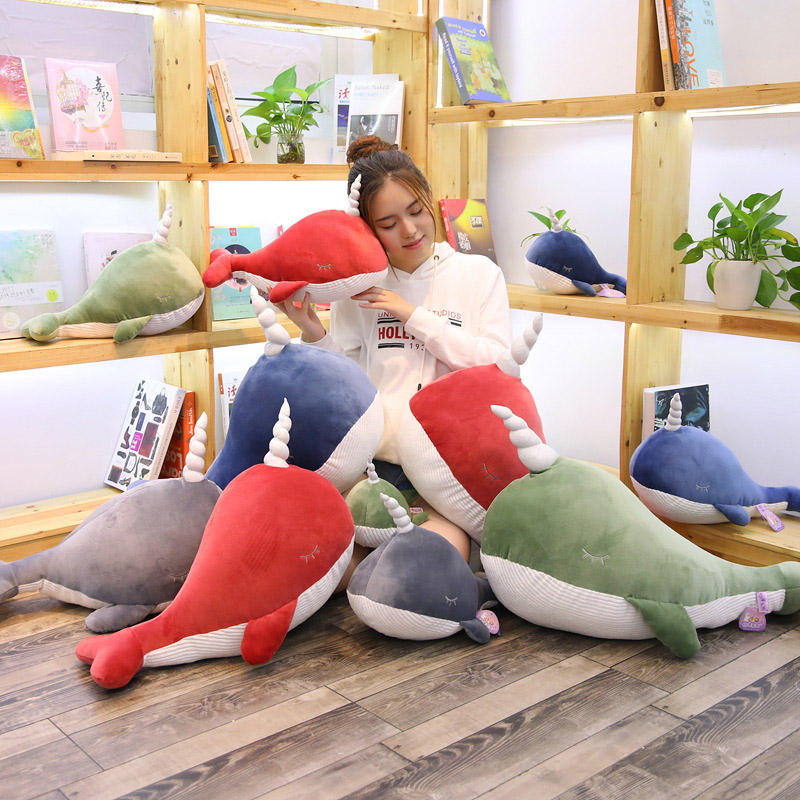 plush narwhal toys cute stuffed fish doll whale plush pillow kids toys christmas birthday gift for children /girlfriend 8 inch plush cute lovely stuffed baby kids toys for girls birthday christmas gift tortoise cushion pillow metoo doll