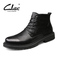 CLAX Men's Work Boots High Top Autumn Leather Shoe Male Safety Shoe Winter Boot Fur Warm Snow Shoes genuine leather Big Size clax mens high boots genuine leather autumn casual motorcycle boots male shoe winter boot fur warm snow shoes