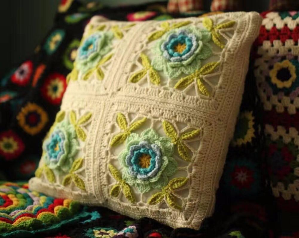 White flower Handmade sofa mat Seat Cushion for chair outdoor Tea ...