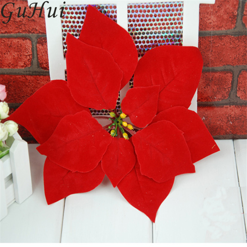 10Pcs 20CM Artificial Red Christmas Flower Poinsettia Flower Heads New Year Home Party Decor Supplies Xmas Pendant Drop Ornament
