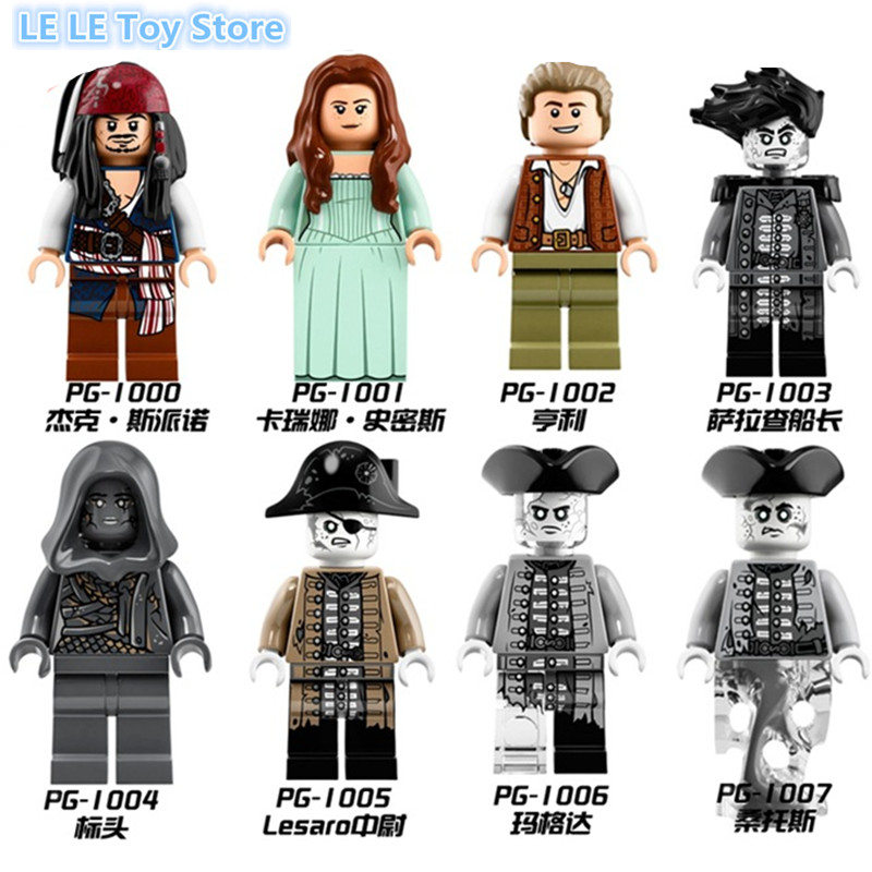 8pcs/lot PG8048 Pirates of the Caribbean series Lesaro Captain Jack Edward Mermaid Davy Jones Buildng Blocks Lepin Baby Toys pair of chic lace edge black knitted stockings for women