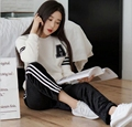 Blusa branca preto calças de Flanela Pijamas Completo Manga Longa Ocasional Solto Ocasional amante Quente Macio Homewear para As Mulheres ou homem