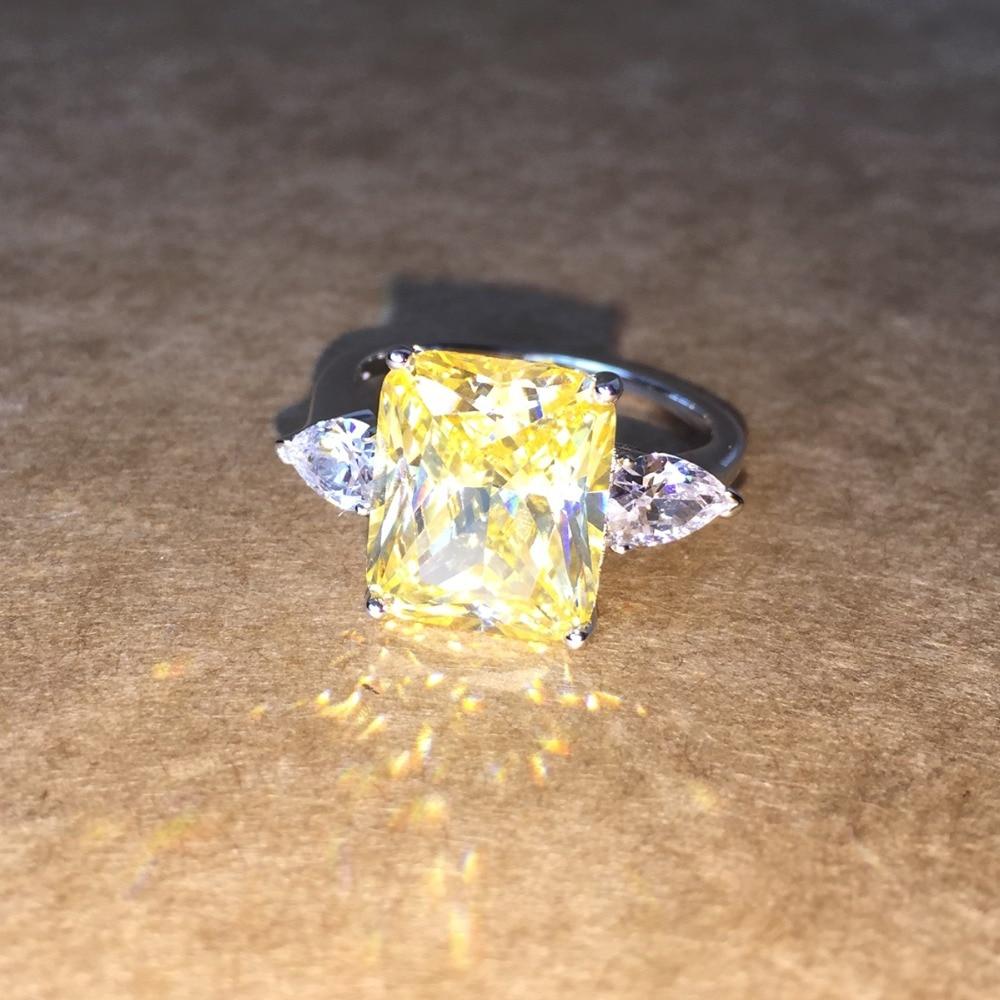 Bague de fiançailles en argent massif zircon cubique couleur argent CZ bague en pierre bijoux pour femmes anel vente en gros - 3