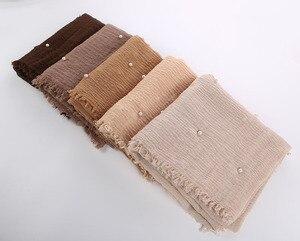 Image 2 - Bayan kabarcık pamuk boncuk kırışıklık eşarp şal buruşuk inci şal müslüman baş örtüsü viskon kışlık eşarplar 55 renk