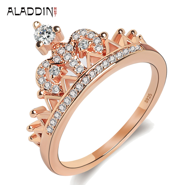 aladdin hot sale new style crown zircon rose gold ring simple fashion couple king rings jewelry