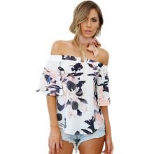 women blouse fashion female ladies clothing streetwear winter womens slash neck floral flower top shirt top