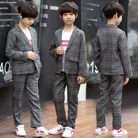 2018Children Spring Autumn Casual Plaid Blazers Suits Boys Formal Jacket Pants Suits Boys Blazer Kids Wedding Clothes Boy Suits