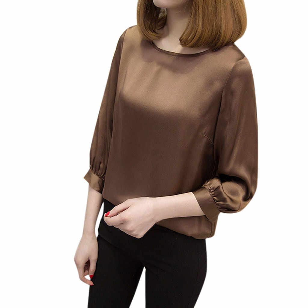 Женская короткая Офисная Рабочая одежда с круглым вырезом, свободные рубашки с буфами на рукавах, повседневные топы с рукавом три четверти, roupas femininas