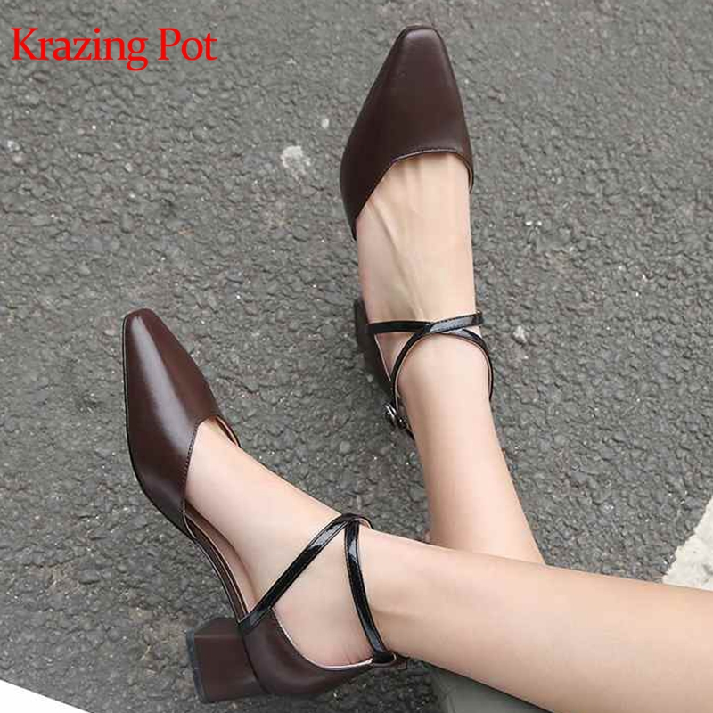 Krazing Pot new arrival genuine leather square toe concise design daily wear shallow princess fairy girls wedding pumps  L3f0Krazing Pot new arrival genuine leather square toe concise design daily wear shallow princess fairy girls wedding pumps  L3f0