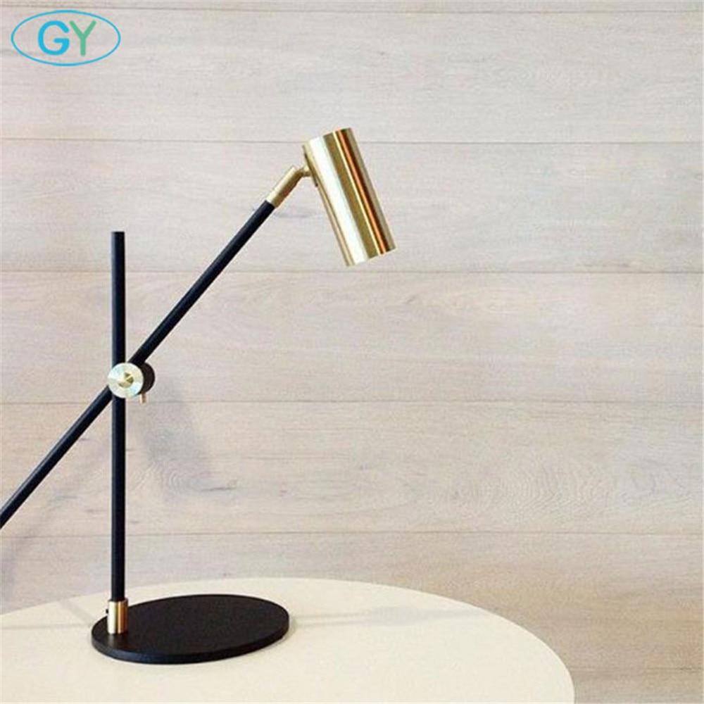 Скандинавский минималистичный светильник для дома, спальни, настольная лампа для чтения, черный бронзовый офисный Настольный светильник, художественный дизайнерский Регулируемый Настольный светильник ing - 5