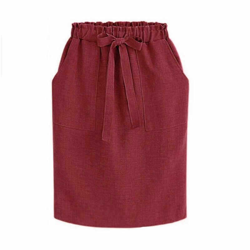 Verão outono elegante midi saias das mulheres escritório lápis saia de algodão cintura elástica pacote saia hip saia arco verde